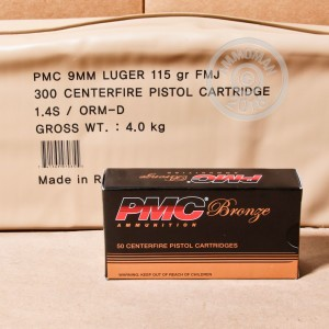 A photograph of 300 rounds of 115 grain 9mm Luger ammo with a FMJ bullet for sale.