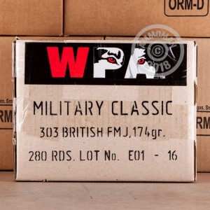 A photo of a box of Wolf ammo in 303 British that's often used for training at the range.