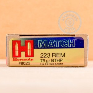 Photo of 223 Remington Hollow-Point Boat Tail (HP-BT) ammo by Hornady for sale.