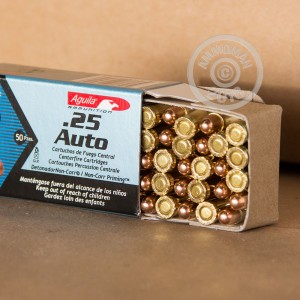 Image of .25 ACP ammo by Aguila that's ideal for training at the range.