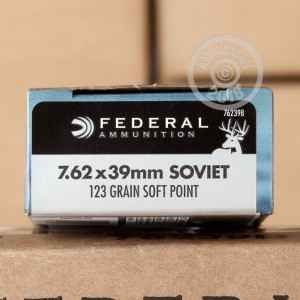 A photograph detailing the 7.62 x 39 ammo with soft point bullets made by Federal.