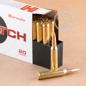 Image of bulk 338 Lapua Magnum ammo by Hornady that's ideal for precision shooting, training at the range.
