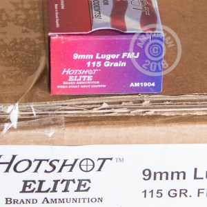 A photograph of 50 rounds of 115 grain 9mm Luger ammo with a FMJ bullet for sale.