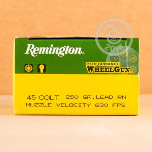A photo of a box of Remington ammo in .45 COLT.