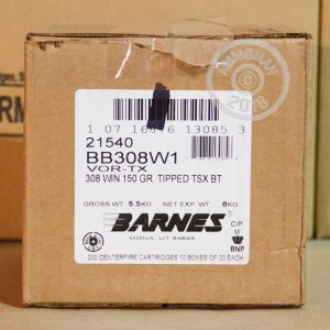A photo of a box of Barnes ammo in 308 / 7.62x51.
