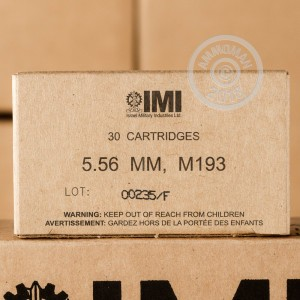 An image of bulk 5.56x45mm ammo made by Israeli Military Industries at AmmoMan.com.