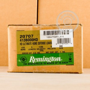 Photo showing 15 rounds of 410 BUCKSHOT ammo made by Remington.