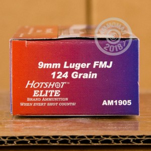 Image of 9mm Luger ammo by Hotshot Ammunition that's ideal for training at the range.