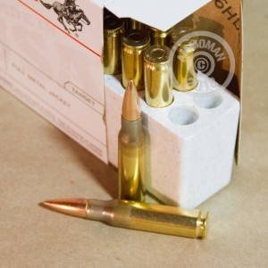 Image detailing the brass case and boxer primers on 120 rounds of Winchester ammunition.