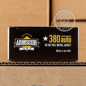 Image of Armscor .380 Auto pistol ammunition.