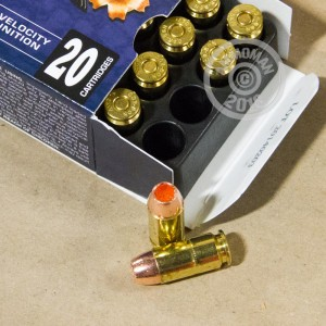 Image detailing the brass case and boxer primers on the Corbon ammunition.