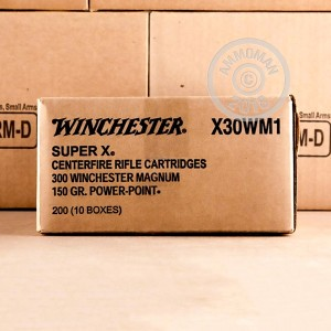 A photo of a box of Winchester ammo in 300 Winchester Magnum.