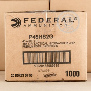 Image of Federal .45 Automatic pistol ammunition.