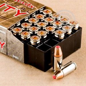 Image of 9mm Luger ammo by Hornady that's ideal for home protection.