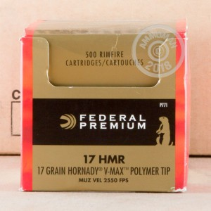 Photograph of 17 HMR ammo with V-MAX ideal for hunting varmint sized game.