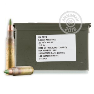 Image of 5.56x45mm rifle ammunition at AmmoMan.com.