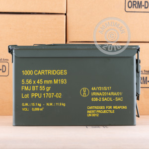 A photograph detailing the 5.56x45mm ammo with FMJ-BT bullets made by Prvi Partizan.