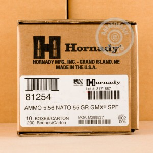 Image of Hornady 5.56x45mm rifle ammunition.