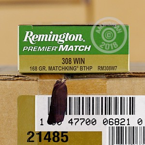 Image of 308 / 7.62x51 ammo by Remington that's ideal for precision shooting.