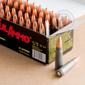 A photograph detailing the 7.62 x 39 ammo with HP bullets made by Tula Cartridge Works.