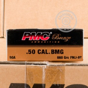 Image of PMC .50 BMG rifle ammunition.