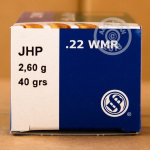 rounds of .22 WMR ammo with JHP bullets made by Sellier & Bellot.