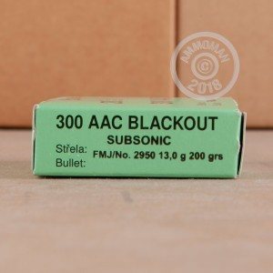 A photograph of 500 rounds of 200 grain 300 AAC Blackout ammo with a FMJ bullet for sale.