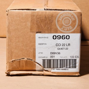 Photograph of .22 Long Rifle ammo with Lead Round Nose (LRN) ideal for shooting indoors, training at the range.