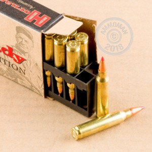 A photograph detailing the 223 Remington ammo with V-MAX bullets made by Hornady.