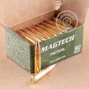 A photograph of 50 rounds of 200 grain 300 AAC Blackout ammo with a FMJ bullet for sale.