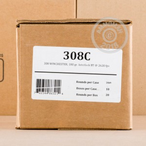 Image of 308 / 7.62x51 ammo by Fiocchi that's ideal for hunting wild pigs, whitetail hunting.