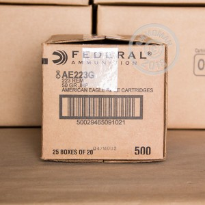 Image of 223 Remington ammo by Federal that's ideal for hunting varmint sized game, training at the range.