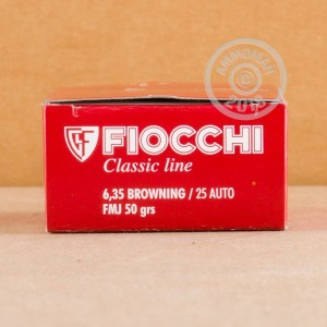 An image of .25 ACP ammo made by Fiocchi at AmmoMan.com.