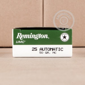 An image of .25 ACP ammo made by Remington at AmmoMan.com.