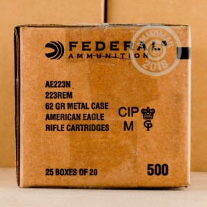 A photograph detailing the 223 Remington ammo with FMJ-BT bullets made by Federal.