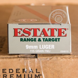 An image of 9mm Luger ammo made by Estate Cartridge at AmmoMan.com.