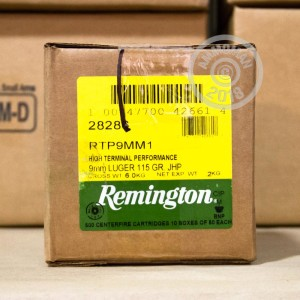 Photo of 9mm Luger JHP ammo by Remington for sale at AmmoMan.com.