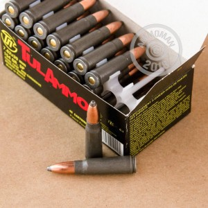Image of 7.62 x 39 ammo by Tula Cartridge Works that's ideal for hunting varmint sized game, hunting wild pigs, training at the range, whitetail hunting.