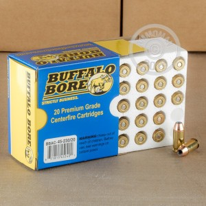 A photograph detailing the .45 Automatic ammo with JHP bullets made by Buffalo Bore.