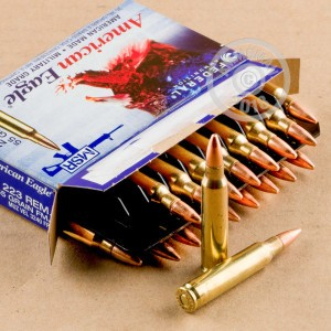 A photograph of 500 rounds of 55 grain 223 Remington ammo with a FMJ-BT bullet for sale.