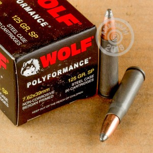 A photograph of 20 rounds of 125 grain 7.62 x 39 ammo with a soft point bullet for sale.