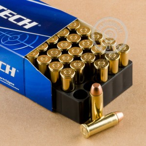 A photograph detailing the 44 Remington Magnum ammo with FMJ bullets made by Magtech.