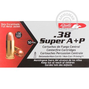 Image of Aguila 38 Super pistol ammunition.