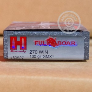 A photograph detailing the 270 Winchester ammo with GMX bullets made by Hornady.