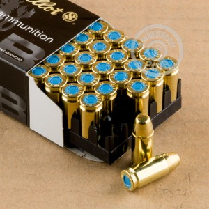 Image of 9mm Luger ammo by Sellier & Bellot that's ideal for training at the range.