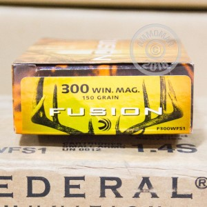 A photograph of 20 rounds of 150 grain 300 Winchester Magnum ammo with a Fusion bullet for sale.