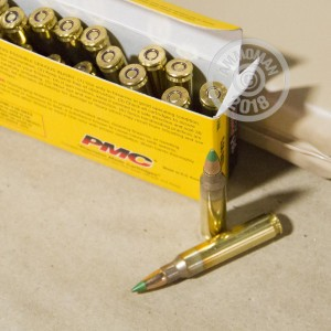 Image of PMC 5.56x45mm bulk rifle ammunition.