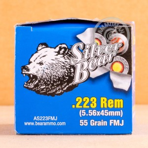 Image detailing the steel case on the Silver Bear ammunition.