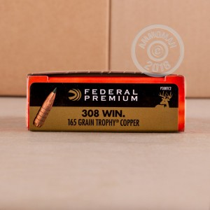 A photograph detailing the 308 / 7.62x51 ammo with Polymer Tipped bullets made by Federal.