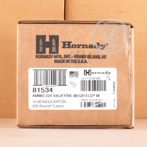 An image of .224 Valkyrie ammo made by Hornady at AmmoMan.com.